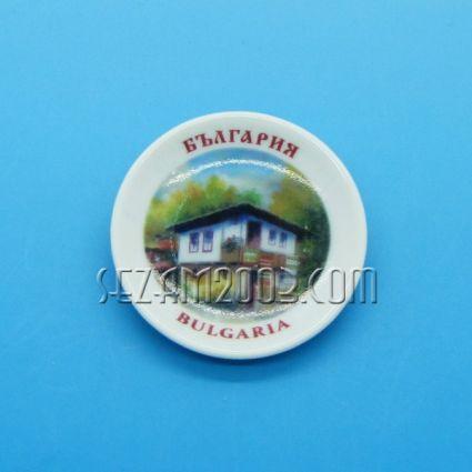 керамична чинийка-магнит за хладилник с картинка на България