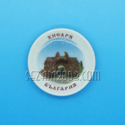 керамична чинийка-магнит за хладилник с картинка на Хисаря