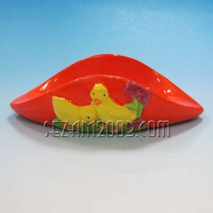 Великденска декорация - поставка за 2 яйца от керамика