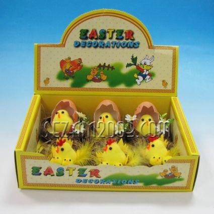 Пиленца от пух в яйца декорирани-6 бр/кут.