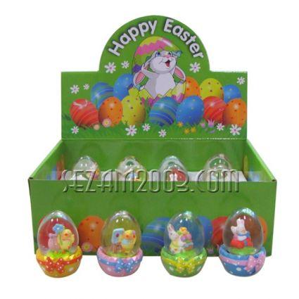 Великденска декорация -  яйце преспапие от полирезин в кутия 12бр.