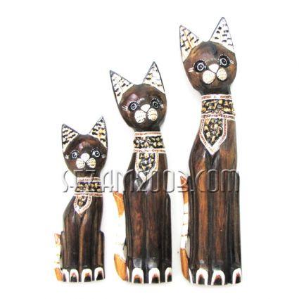 КОТКИ от дърво 3 броя комплект - декорирани