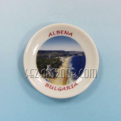 керамична чинийка-магнит за хладилник с картинка на Албена