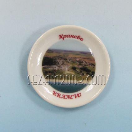 керамична чинийка-магнит за хладилник с картинка на Кранево