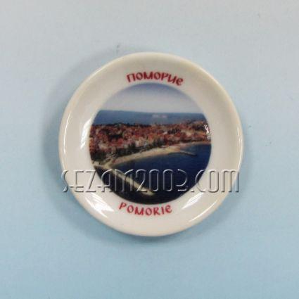 керамична чинийка-магнит за хладилник с картинка на Поморие