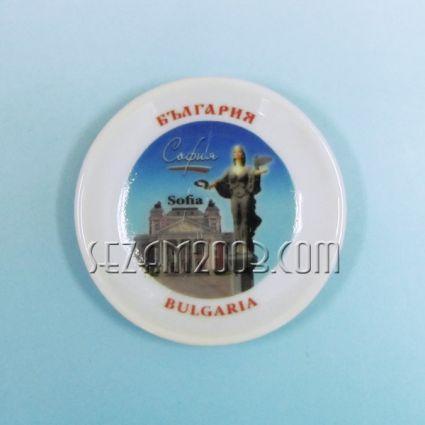 керамична чинийка-магнит за хладилник с картинка на София