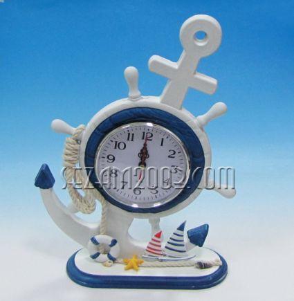 рул+часовник настолен морски декор от дърво