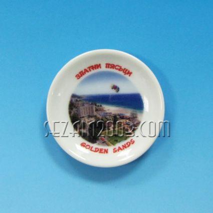 керамична чинийка-магнит за хладилник с картинка на Златни пясъци
