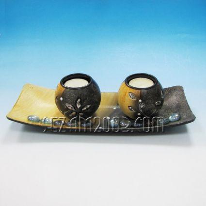 свещник двойка от мдф декориран + поднос+камъчета+свещи