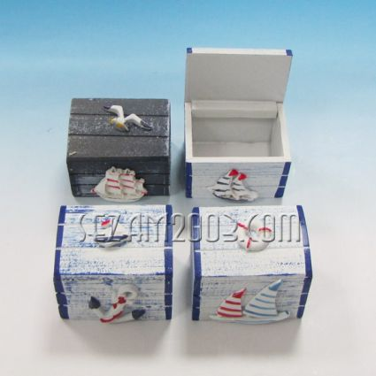 кутийка от дърво - морски декор
