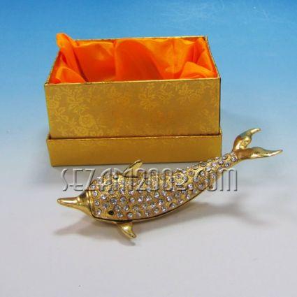 ДЕЛФИН - метален сувенир/кутийка за бижута с камъни
