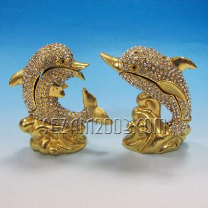 ДЕЛФИНИ - метален сувенир/кутийка за бижута с камъни