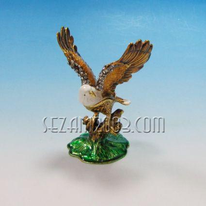 ОРЕЛ-метален сувенир/кутийка за бижута с камъни