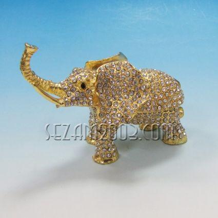 СЛОН-метален сувенир/кутийка за бижута с камъни
