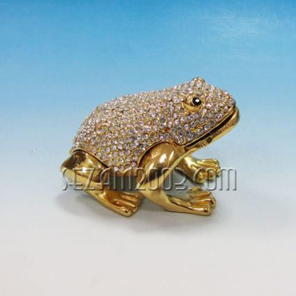ЖАБА - метален сувенир/кутийка за бижута с камъни