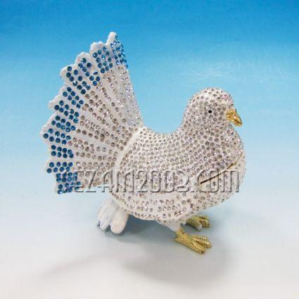 ГЪЛЪБ - метален сувенир/кутийка за бижута с камъни