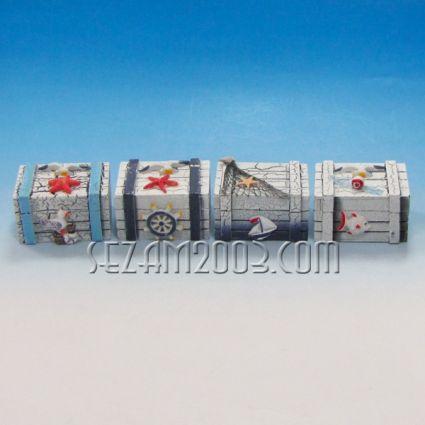 Кутийка за бижута от дърво с морска декорация