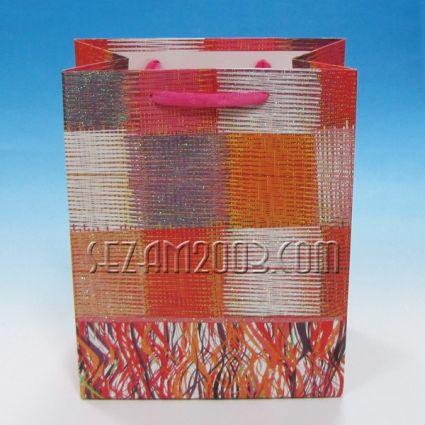 Подаръчна торбичка от лукс хартия+брокат декорирана
