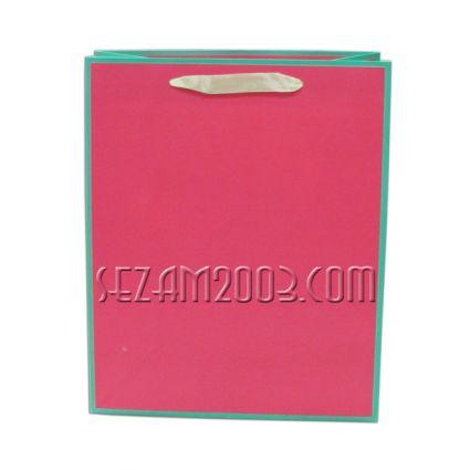 Подаръчна торб.от лукс хартия едноцветна с кант