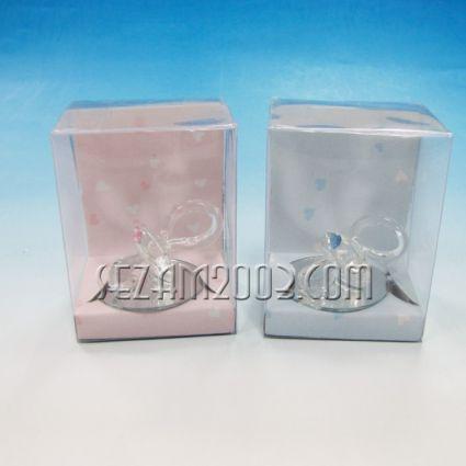 Биберон - стъклена фигурка в подаръчна кутийка 2 цвята