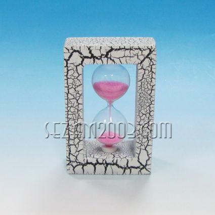 Пясъчен часовник стъклен  и дърво с мраморен ефект и цветен пясък