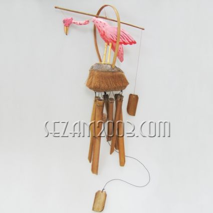 Flamingo - Wind bell from wood and bamboo