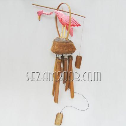 Фламинго - вятърен звънец от дърво  , бамбук и кокос