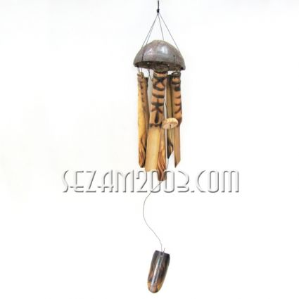 Wind bell from wood, bamboo and coconut