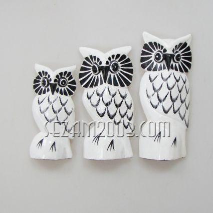 Бухалчета от дърво декорирани - 3 бр.к-т
