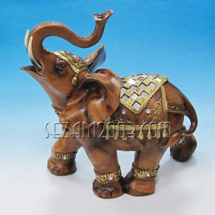 Elephant decorated - figure of polyresin