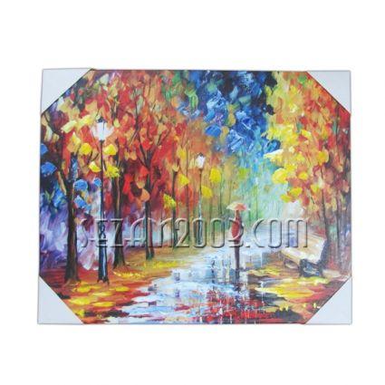 Картина масло, релефна пейзаж върху дървена рамка