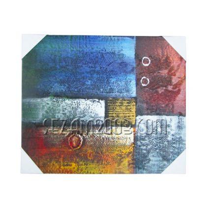 Картина масло, релефна абстракт върху дървена рамка