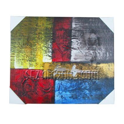 Картина масло, релефна абстракт-върху дървена рамка