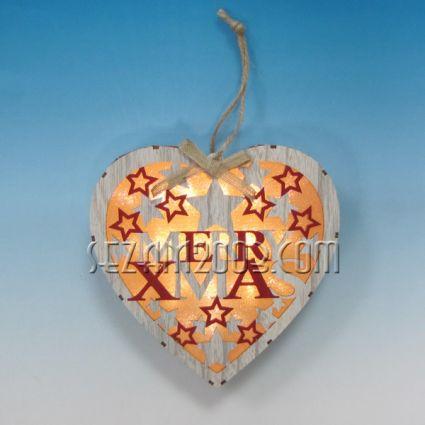 Висулка Сърце с Коледна декорация от мдф и лампички /без батерии /