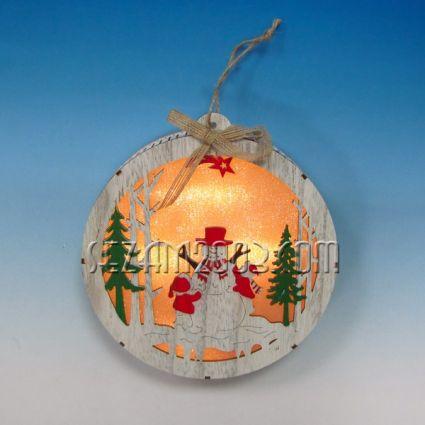 Висулка Топка с Коледна декорация от мдф и лампички /без батерии /
