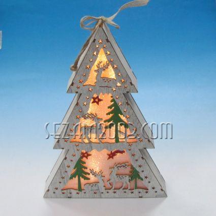 Елха с Коледна декорация от мдф и лампички /без батерии /
