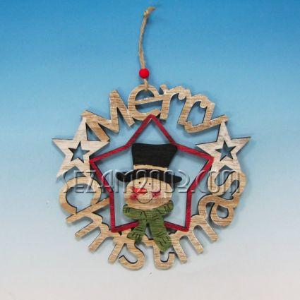 MERRY CHRISTMAS висулка от мдф декорирана