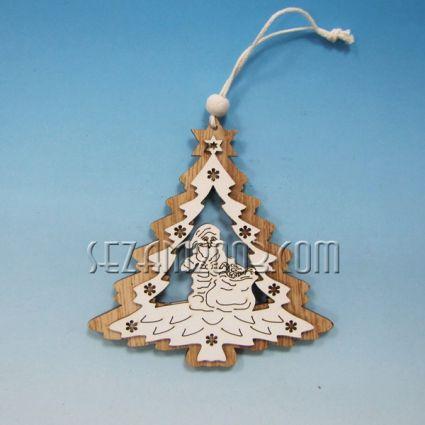 Елха  / висулка двулицева от мдф с Коледна декорация