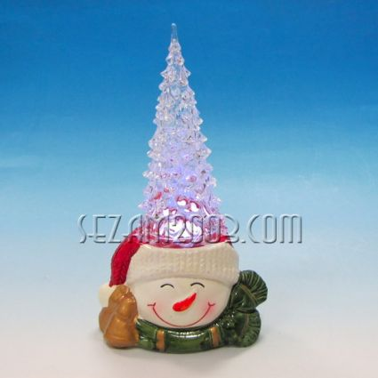 Коледна декорация от керамика с пластмасова елха и led  лампи / вкл.мини батерии/