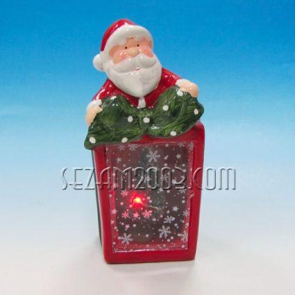 Коледен фенер от керамика с  елха и led  лампи / вкл.мини батерии/