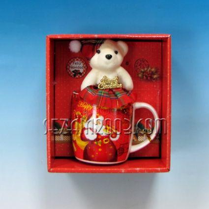 Коледен подарък - порцеланова чаша +мече от плат в лукс кутия