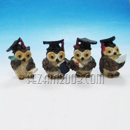 Owl student - figure of polyresin