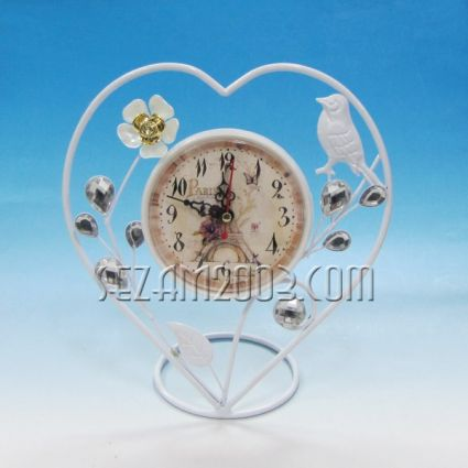 Часовник настолен метален с винтидж декор - СЪРЦЕ