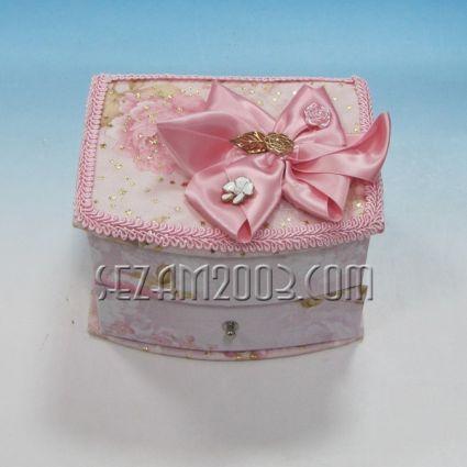 Кутия за бижута от плат+огледало с винтидж декор
