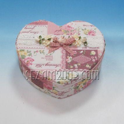 Кутия за бижута от плат+огледало с винтидж декор - СЪРЦЕ