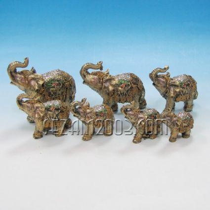 Слончета от полирезин декорирани -7 бр.к-т