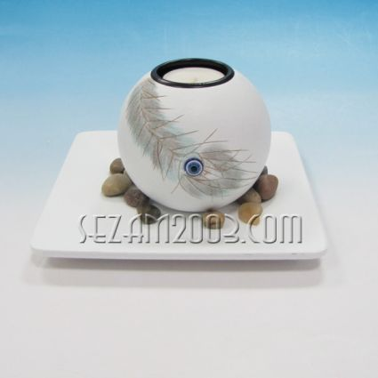 Свещник  декориран с перо + чинийка от мдф