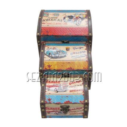 Кутии ракли 3 бр.к-т -декорирани-от мдф и плат
