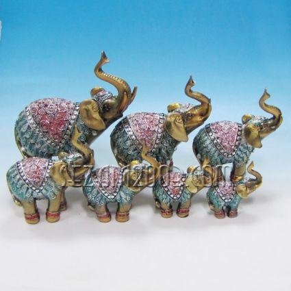 Слончета 7бр.к-т декорирани-фигури от полирезин