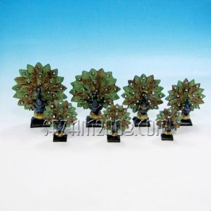 Пауни декорирани-7 бр.к-т от полирезин